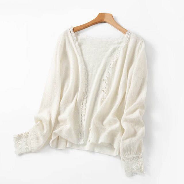 Elfbop Ladies Alpaca & Wool V Neck Lace Patchwork Knitting Sweater Cardigan - Women White/Navy Knitted Sweater Top