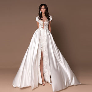 New Arrival Satin Wedding Dresses Robe Mariage Femme Sexy Skirt Slit See Through Body Short Gorgeous Wedding Gowns