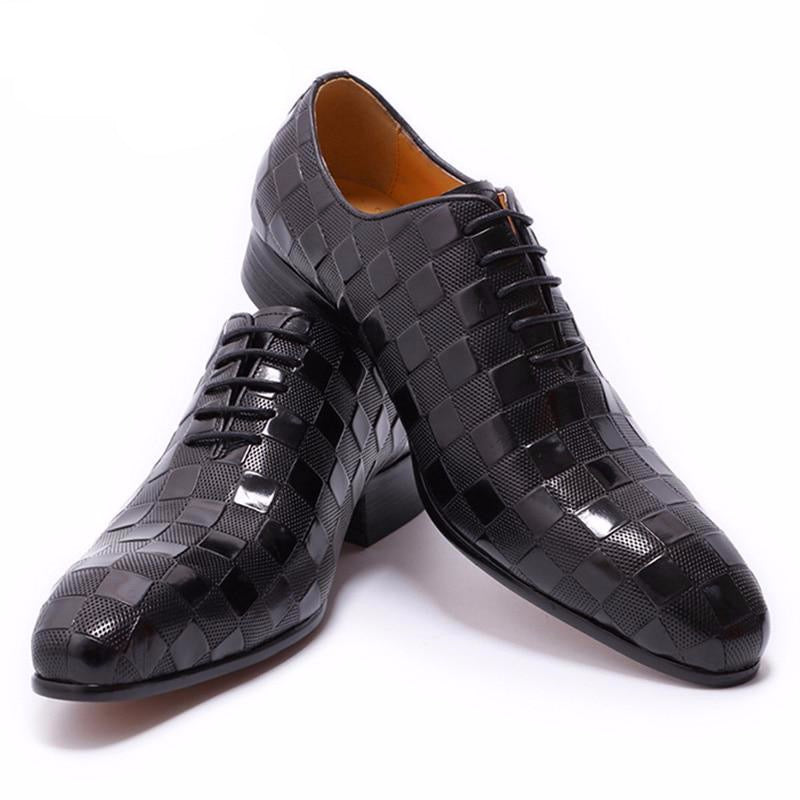 LEATHER SHOES MEN NEW FASHION PLAID PRINTS LACE UP BLACK BROWN WEDDING OFFICE SHOES - LiveTrendsX