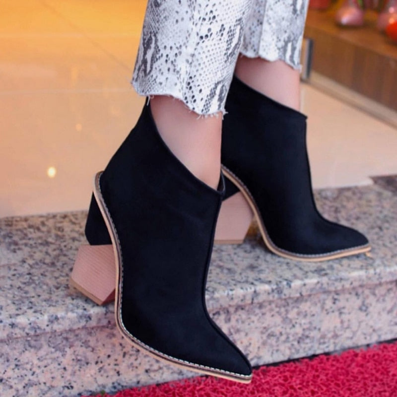 Women Thick High Heels Pointed Toe Western Cowboy Boots Female Black Blue Leather Shoes for Lady 2020