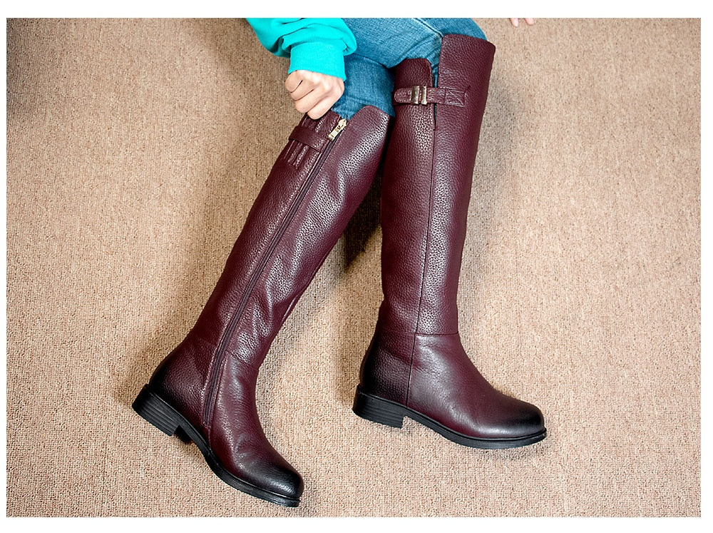 Special Design Boots Knee-High Warm Round Toe Genuine Leather Comfortable Square Heel Shoes Wool Women's Boots PC398 - LiveTrendsX