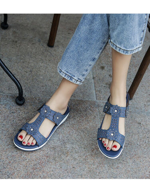 Summer Women Casual Flat Beach Slipper Flip Flop Sandals Shoes Woman Bohemia Rhinestone Ethnic Female Wedge Sandals - LiveTrendsX