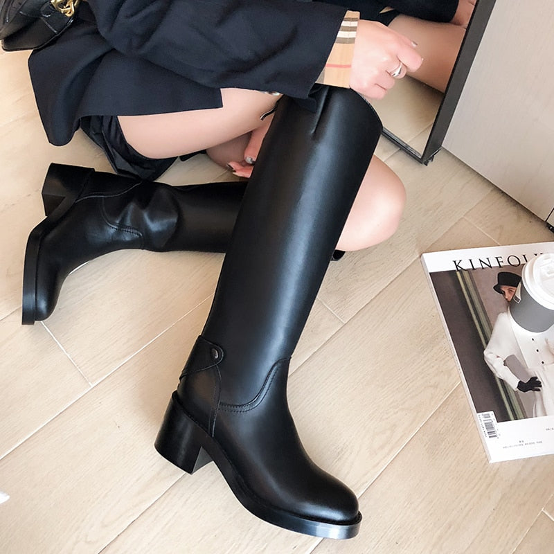Women knee-high boots natural Leather shoes 22-25 cm length 6.5cm heel cow leather zipper autumn and winter warm plush shoes