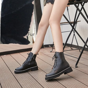 Martin Boots Female 2020 Autumn New Genuine Leather Women Booties Lace Up White winter women shoes - LiveTrendsX