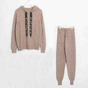 Women Sweater Suits and Set Casual Hooded Sweaters Knit Long Pants 2PCS Clothing Sets Track Suits Trousers+Jumpers