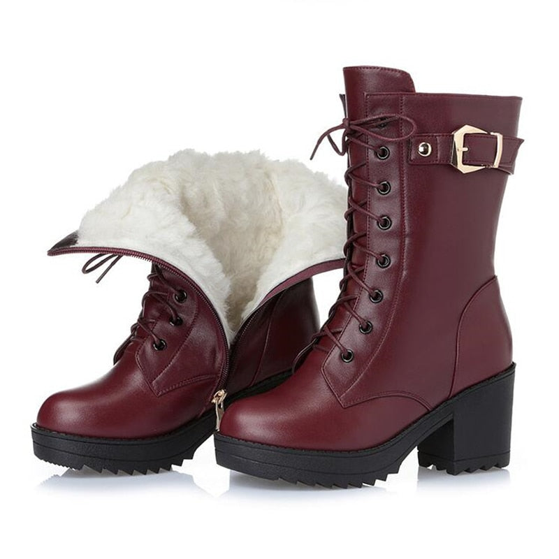 High-heeled genuine leather women winter boots thick wool warm women Military boots high-quality female snow boots