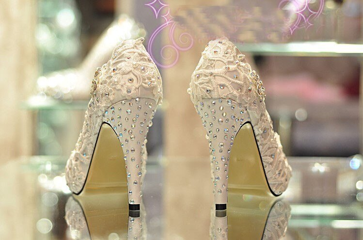 Spring Handmade Glitter Lace Rhinestone High Heels Wedding Shoes Bridal Dress Shoes Women's Pumps Size 31-42