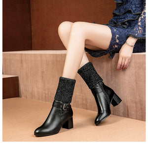 vogue l women High-heeled  tall knitting boot