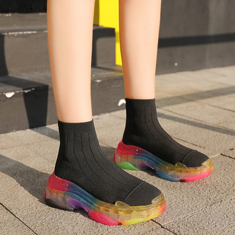 Leisure socks shoes boots Rainbow women platform clear transparent flat knitted elastic short boots with breathable sneaker - LiveTrendsX