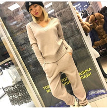 Load image into Gallery viewer, Women sweater suit and setsCasual Knitted Sweaters Pants 2PCS Track Suits Woman Casual Knitted Trousers+Jumper Tops Clothing Set - LiveTrendsX