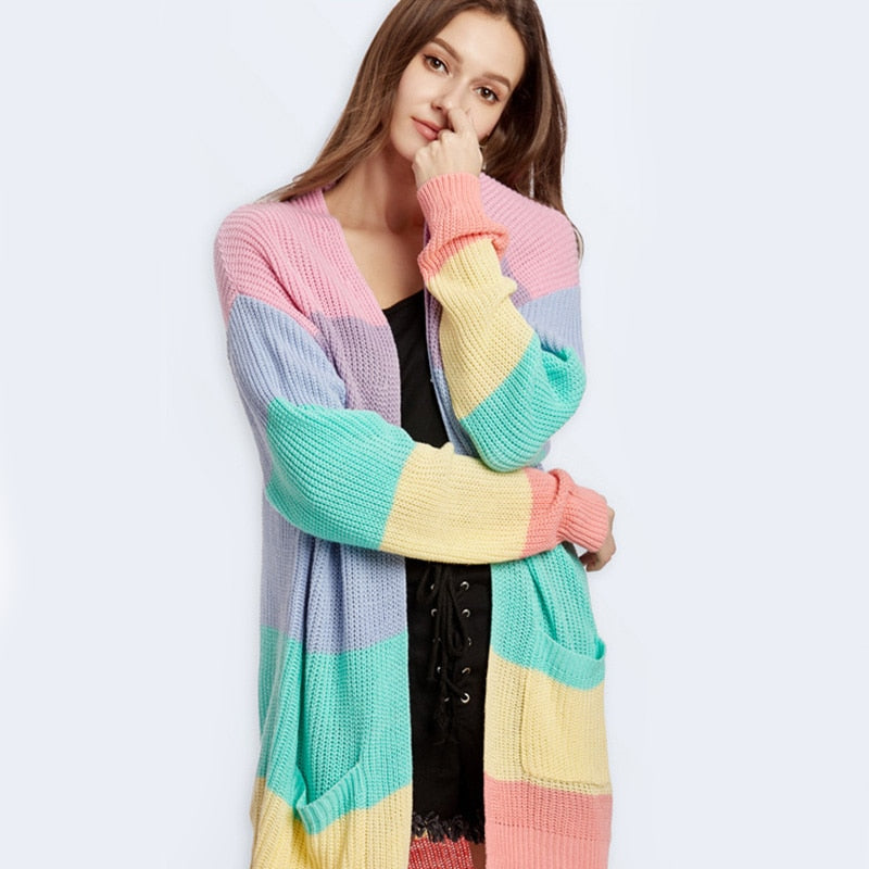 Women's elegant Loose Sweater Yellow Casual Coat Women Rainbow striped long cardigan female Autumn Winter knitted sweater Jacket