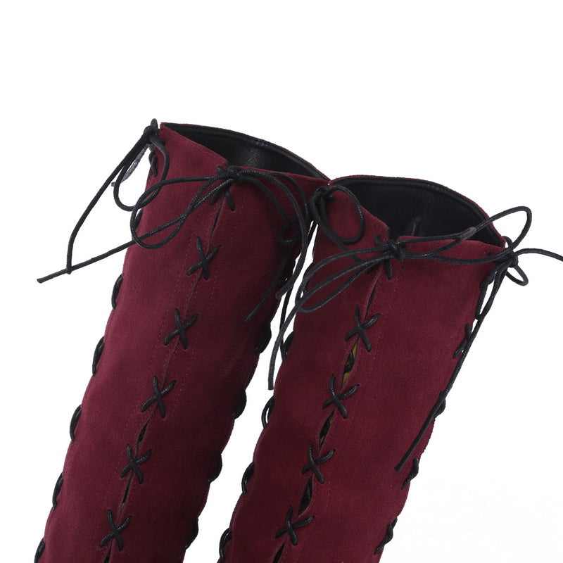 redwine genuine leather side lace-up thigh boots stiletto heels sexy autumn winter high booties - LiveTrendsX