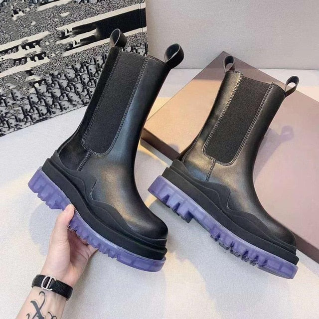 Thick-soled Chelsea Boots Women 's Short Boots Mid-tube Martin Boots -soled Boots Women 's Cool Boots Green Winter