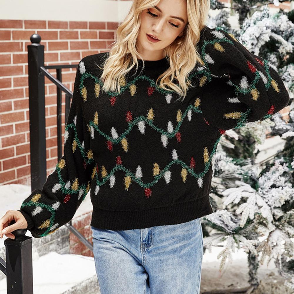Kersttrui Dames 2020 Fashion Women Christmas Jumper Coloured Lights Decorate Jacquard-Weave Knit Sweater Top Pull Noël Femme - LiveTrendsX