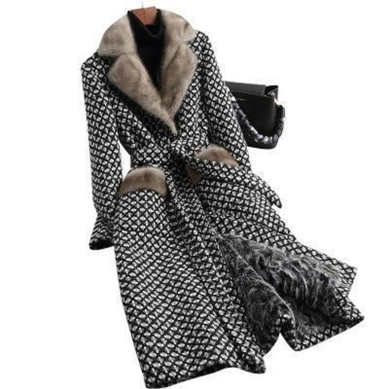 Women Wool Blends Coat  Plaid Double Breasted X Long Jacket Plus Size 5XL Office Lady Winter Warm Fur Collar Coats Female - LiveTrendsX