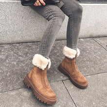 Load image into Gallery viewer, RIZABINA Size 34-43 Women Snow Boots Real Leather Warm Fur High Heel Winter Shoes Woman Plush Fashion Platform Short Boot - LiveTrendsX