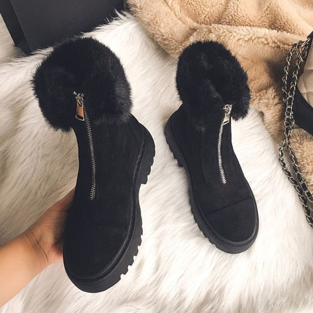 RIZABINA Size 34-43 Women Snow Boots Real Leather Warm Fur High Heel Winter Shoes Woman Plush Fashion Platform Short Boot - LiveTrendsX