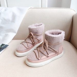 Cute Wool Snow Boots 2020 Winter Fashion Women's Flats Shoes Pink Apricot Black 34-42 Plus Size Ankle Boots - LiveTrendsX
