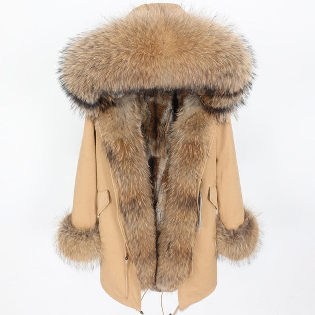 winter women real fur coat  long Rabbit fur lining hooded parka Large raccoon  fur collar warm coats  Star same style - LiveTrendsX
