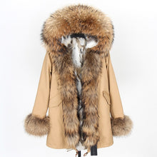 Load image into Gallery viewer, winter women real fur coat  long Rabbit fur lining hooded parka Large raccoon  fur collar warm coats  Star same style - LiveTrendsX
