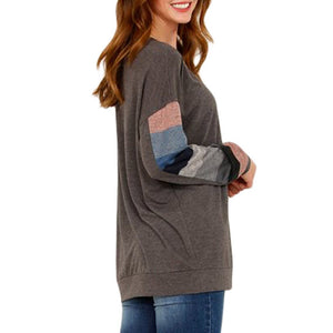 Round Neck Color Blocking Long Sleeve T-shirt Women's New Loose Autumn and Winter European and American Top Large Sweatshirt