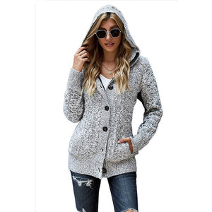 Women's Button Down Cable Knit Cardigans Fleece Hooded Zipper Sweater Coats with Pockets Long Sleeve Hat Hooded Cardigans - LiveTrendsX