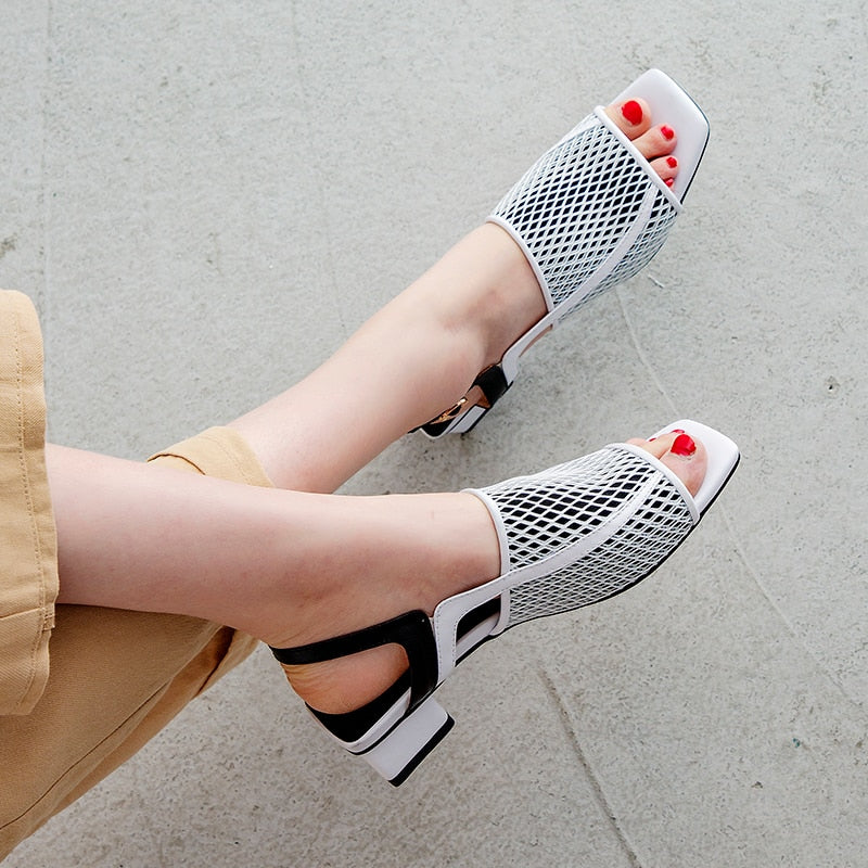 Genuine Leather Summer Party Elegant Women Shoes Air Mesh Woman Chunky Heel Sandals Shoes Woman
