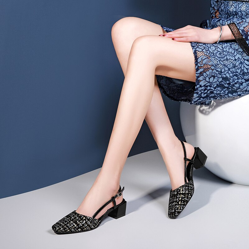 Leopard Horsehair Sandals Women Small Fragrance Summer Slingback Sandals Women Med Chunky Heels Office Shoes Black 2020