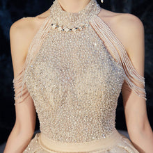 Load image into Gallery viewer, New Luxury Halter Wedding Dress for Bride Sexy Sequins Beading Shining Tassel A-line Court Train Long Wedding Gowns - LiveTrendsX
