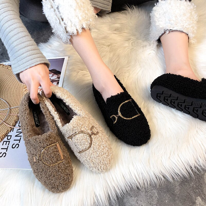 Maxi Size 33-43 Women Flat Shoes Platform Soft Comfortable D Buckle 2020 Winter Warm Wool Plush Fur Women Moccasins Flats - LiveTrendsX