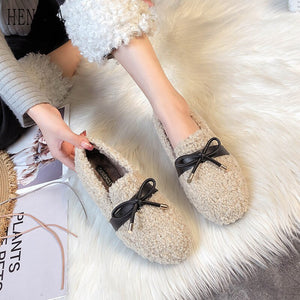 Women Shoes Autumn Shallow Mouth Round Toe Casual Female Sneakers Women's Moccasins Flats Loafers Fur Clogs Platform Fall