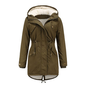 Jacket Autumn and winter new women solid color hooded drawstring waistband thickened cotton Parkas Ladies Coat - LiveTrendsX