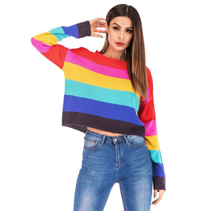 Streetwear Hit Stripe Women Knit Crop Sweater Casual O-neck Female Jumpers Pullovers Spring Autumn Lady Sweaters Tops - LiveTrendsX