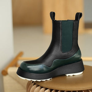 Winter new genuine leather women martin boots platform wedges mix color ankle boots