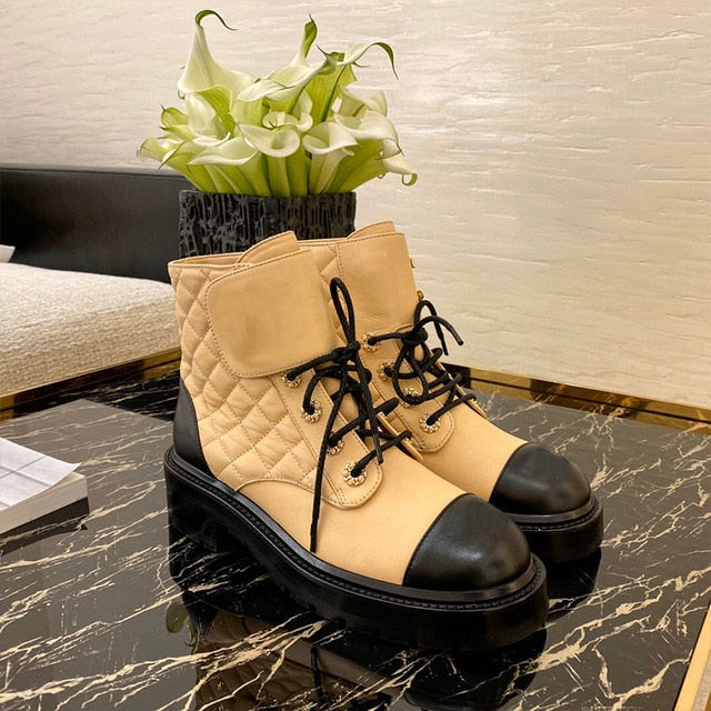 Luxury design new women's cowhide fashion Martin boots trendy girl motorcycle boots thick-soled Velcro laces women's shoes - LiveTrendsX