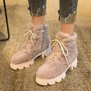 Winter Snow Boots Women Natural Genuine Leather Platform Ankle Boots Warm Wool Round Toe Shoes Lady New Size 34-39 - LiveTrendsX