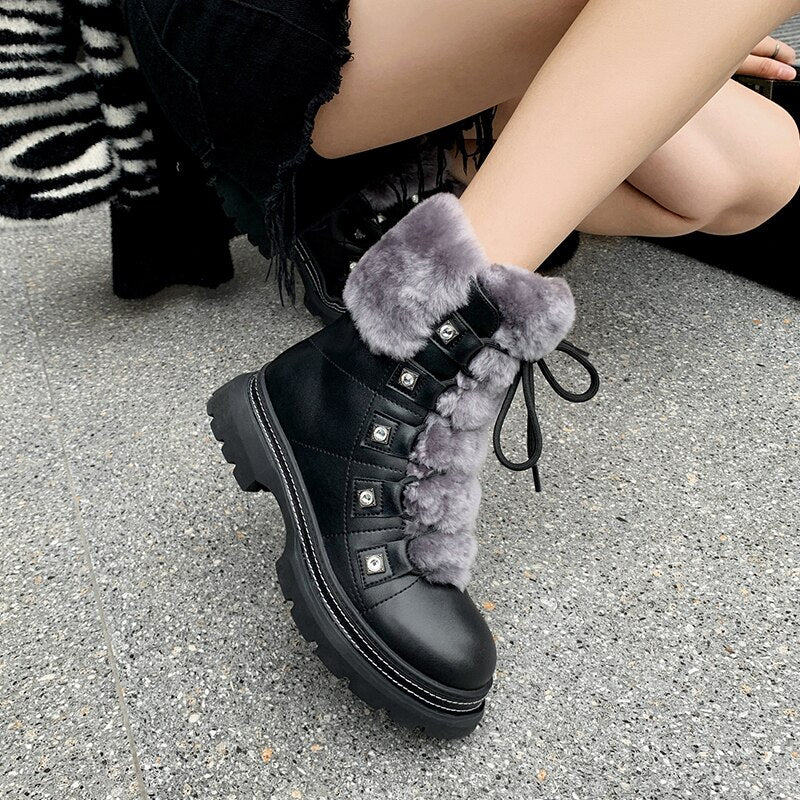 HOT Sale Russian winter Women ankle boots Split leather +rabbit fur thick plush lining winter booties Diamond front strap shoes - LiveTrendsX
