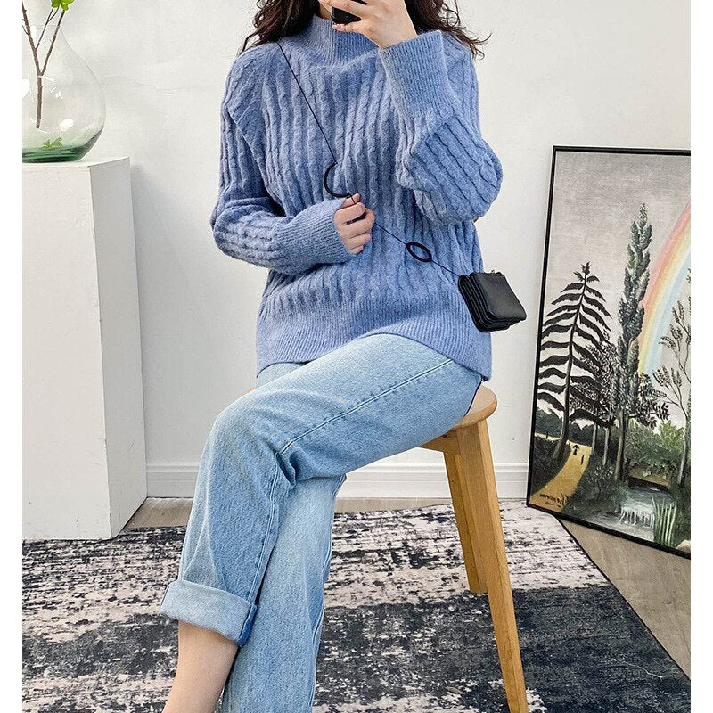 Women's Sweater Ladies Knit Solid Color Loose Casual Autumn Winter New Knitted Pullover - LiveTrendsX