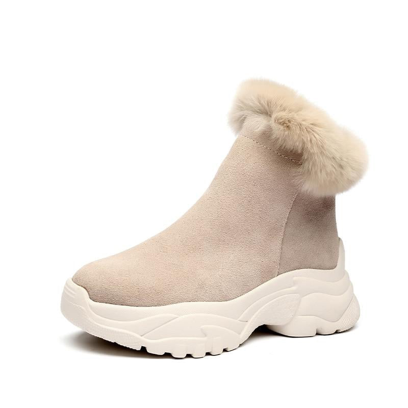 Suede leather Ankle Boots Women Flat platform shoes winter plush Keep warm Thick bottom Short Boots Ladies snow boot