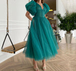 Green Puffy Sleeves Plus size Evening Dresses Gowns 2021 Ankle Length A-line Sexy For Women Party - LiveTrendsX