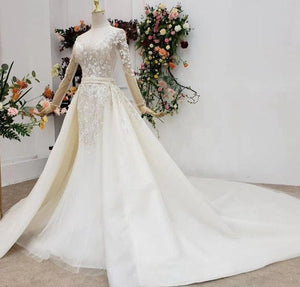 Ivory Mermaid Handmade Flowers Beading Plus Size Wedding Dresses 2021 High-end Long Sleeves Bridal Gowns - LiveTrendsX