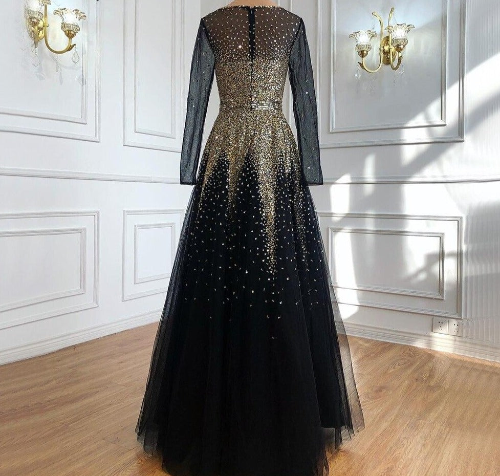 Muslim Black Gold Luxury Evening Dresses Gowns 2021 A-Line Sparkle Beading For Women Party - LiveTrendsX