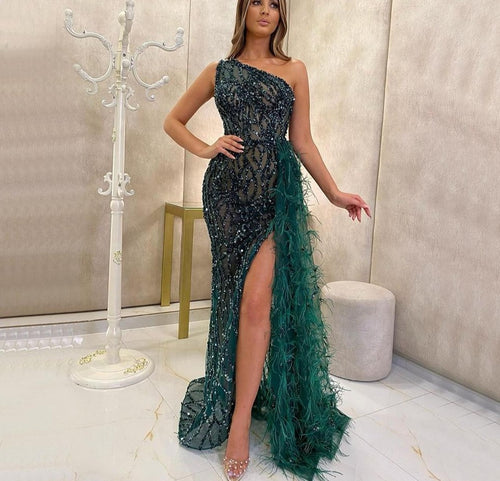 Green Luxury One Shouder Split Evening Dresse 2021 Elegant Mermaid Beading Gowns Feathers For Women Party - LiveTrendsX