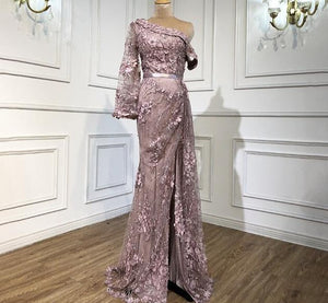 Pink One Shoulder Evening Gowns 2021 Dubai Sparkle Mermaid Sexy Formal Dress Design - LiveTrendsX