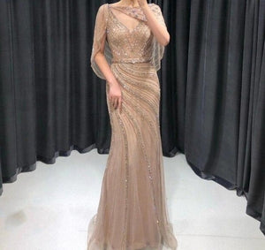 Luxury Gold Elegant Sexy Evening Dresses Gowns 2021 Diamond Beading Mermaid For Women Party Wear - LiveTrendsX