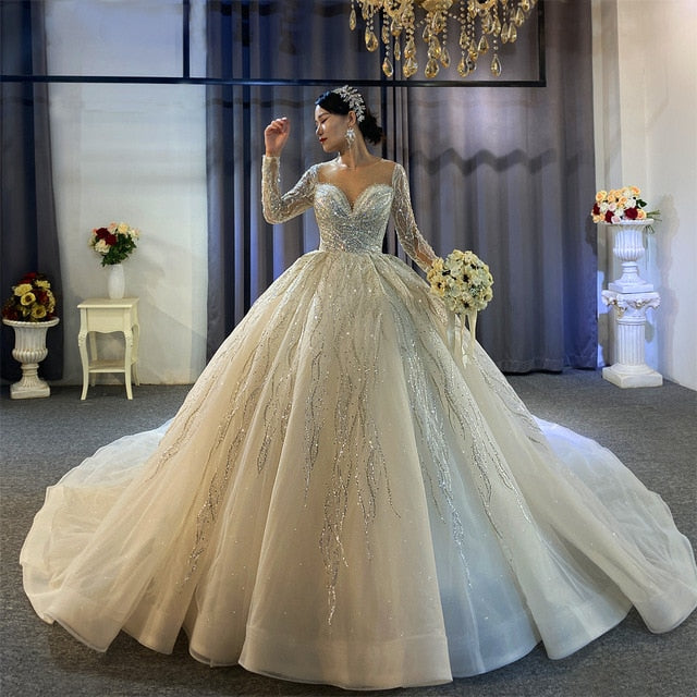 2021 collection shinny beading wedding dress long sleeves - LiveTrendsX