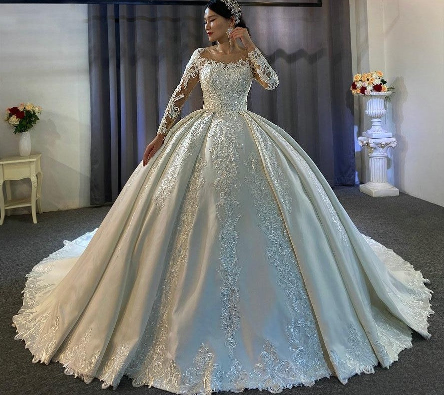 New fashion satin with lace wedding dress nice high quality satin wedding gown - LiveTrendsX