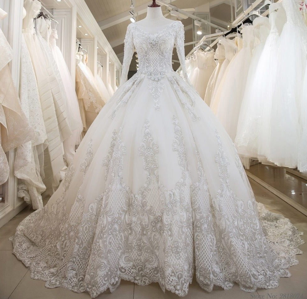 Real Photo Vestidos De Novia Ball Gown Wedding Dress For Bride Long Chapel Train Custom Made Plus Size With Lace Beading - LiveTrendsX