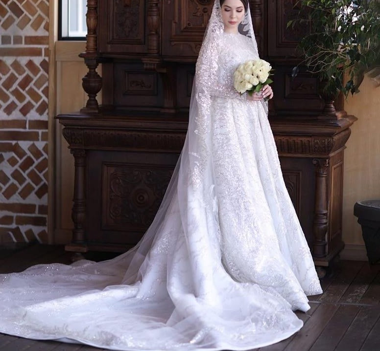 Luxury Sequined Lace Muslim Wedding Dresses with Veil Court Train gelinlik modeller A Line Bridal Gown in dubai amanda novias - LiveTrendsX
