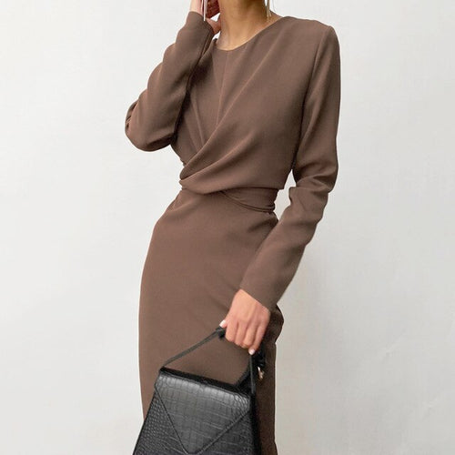 Cross Elegant Draped Dress Women Long Sleeve - LiveTrendsX